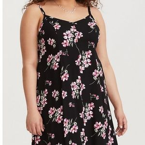 Torrid Black Floral Challis Midi Dress Size 00